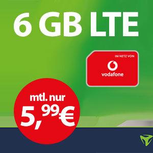 *Schnell!* 🔥 6GB LTE Vodafone Allnet-Flat für nur 5,99€ mtl.