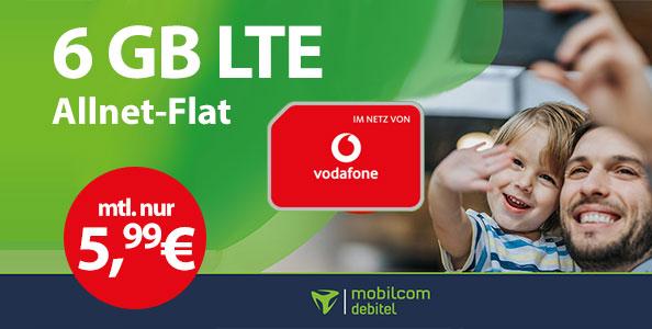 mobilcom debitel 6gb lte allnet flat green vodafone 599