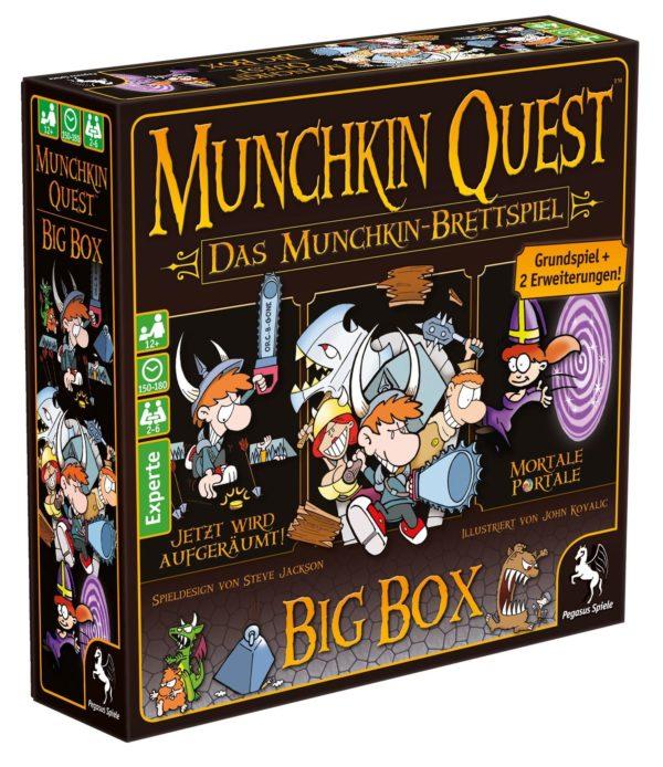 Jetzt haben Munchkin-Fans die Möglichkeit ihr Lieblingsuniversum nicht nur bretthart sondern auch komplett kennenzulernen: denn mit der neuen Munchkin Quest: Big Box erhalten sie das Basisspiel plus die beiden populären und lange vergriffenen Erweiterungen Jetzt wird aufgeräumt und Mortale Portale zusammen in einer Schachtel. Mit der gleichen Satire und bitterbösen Gemeinheit wie das Munchkin-Kartenspiel verbreitet Munchkin Quest einmal mehr Spaß und fröhlichen Wahnsinn. Töte die Monster, klau den Schatz und falle deinen Kumpeln in den Rücken Munchkin Quest überträgt nämlich genau dieses ebenso einfache wie erfolgreiche Konzept in die Welt des Brettspiels. Gemeinsam mit der ganzen Gruppe oder auf eigene Faust erkunden die Spieler einen Dungeon, treten Türen ein und tun das, was man in Dungeons eben tut: Monster meucheln und Schätze scheffeln! Durch den modularen Spielaufbau ist jeder Dungeon eine völlig neue Herausforderung.