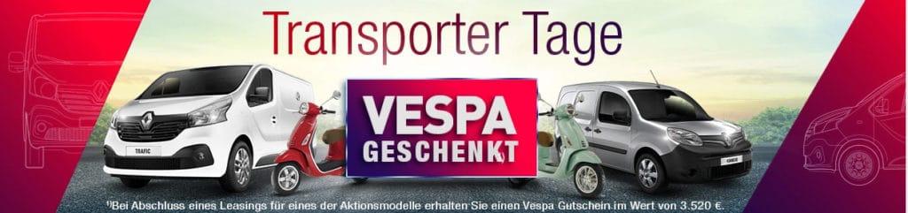 Aktionsbedingungen: Sondertarif für Transporter bis 3,5 Tonnen und 75kW; Laufzeit beträgt 3 Jahre · Versicherungsumfang: Kfz-Haftpflicht, Vollkasko- inkl. TK 1.000 und 150 € SB · Ausschlüsse : Kurier- und Lieferdienste · die Aktion gilt für Fahrer ab einem Alter von 18 Jahren in Kooperation mit der Nürnberger Versicherung (Ostendstr. 100, 90334 Nürnberg)