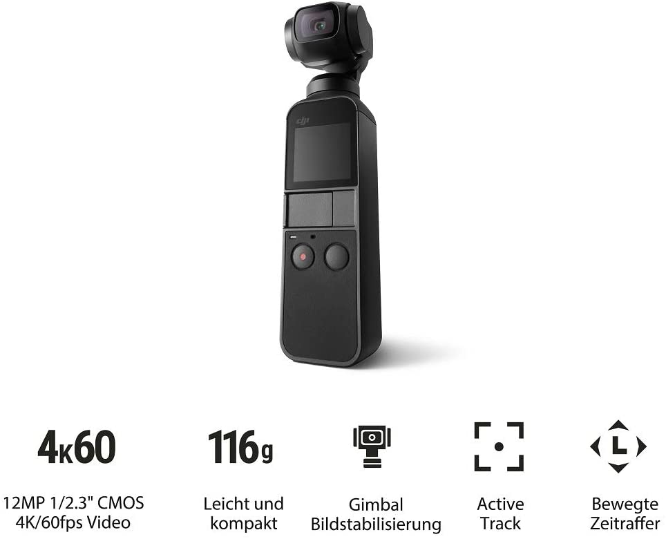 Smartphones mit Micro-USB-Anschluss können leider nicht über die Universalschnittstelle mit dem Osmo Pocket verbunden werden Klein und kompakt: Der Osmo Pocket ist auf drei Achsen stabilisiert und ist der bisher kleinste Handheld-Gimbal von DJI. Der Gimbal gleicht Bewegungen direkt in Echtzeit Die Kamera ist nicht größer als ein handelsüblicher Schokoriegel und passt problemlos in jede Tasche. Betriebstemperatur: 0° C - 40° C DJI Mimo: Der Osmo Pocket ist für all jene, die eine Geschichte zu erzählen haben, daher haben wir die neue DJI Mimo App entwickelt Was du bekommst: DJI Osmo Pocket, Tragetasche, Smartphone-Adapter (USB-C), Smartphone-Adapter (Lightning), Netzkabel. NICHT ENTHALTEN: Smartphone-Adapter (Micro USB)