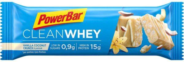 Powerbar Clean Whey: Unsere neuen Clean Whey Protein Riegel verzichten auf die Schokoladenhülle und überzeugen durch Premium Protein - ohne zu viel Zucker. Direkt nach dem Sport oder einfach zwischendurch versorgen sie dich mit hochwertigem Eiweiß Nährwerte: 15 g Protein, ca. 9,5 g Kohlenhydrate und ca. 0,9 g Zucker pro 45g Riegel. Und das bei nur ca. 143 kcal pro Riegel. Der Clean Whey ist dein praktischer Begleiter für unterwegs