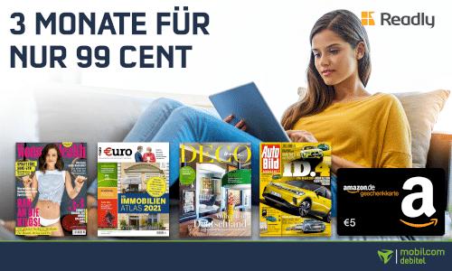 Readly mit 5€ Amazon-Gutschein