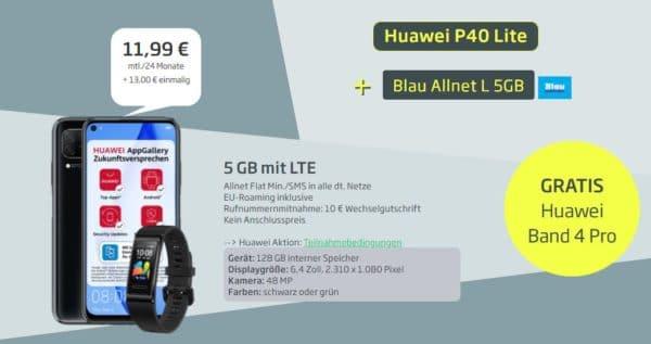 huawei p40 lite curved blau allnet l huawei band 4 pro