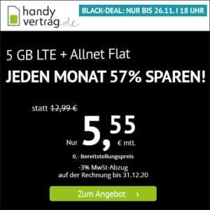 [bis 18Uhr!] 🎉 o2 5GB LTE + Allnet-Flat für 5,55€ mtl. (mtl. kündbar!)