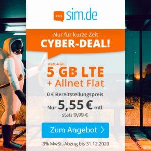 🎉 o2 5GB LTE + Allnet-Flat für 5,55€ mtl. (nur 5,55€ AG)