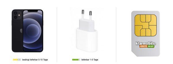 Apple iPhone 12 5G 128 GB Schwarz Klarmobil Allnet Flat 10 GB mit Top Smartphone