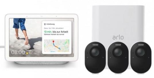 Arlo Ultra 4K Überwachungssystem mit 3 Kameras und gratis Google Nest Hub