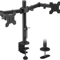 """360° DOPPELGELENK-ARM-MONITORHALTERUNG: Montiert zwei Bildschirme nebeneinander, um bequem Platz auf dem Schreibtisch zu schaffen. Hält zwei 15""""-27"""" Monitore mit einer maximalen Tragfähigkeit von 8 kg pro Arm. Das Doppelgelenkarm-Design sorgt für zusätzliche Stabilität und Flexibilität."""