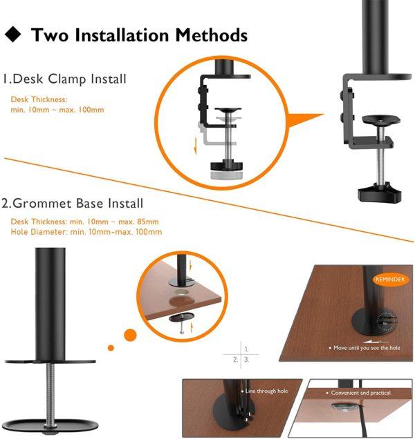 2 METHODEN DER INSTALLATIONEN - 1) Tischklemme: Die hochbelastbare'C'-Klemme bietet höchste Stabilität und hält Ihren Bildschirm fest und sicher an seinem Platz; 2) Tüllenfußmontage.