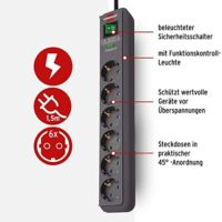 Brennenstuhl Steckdosenleiste 6-fach Überspannungschutz