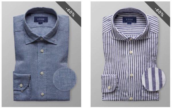 Casual Leinenhemd Eton blau
