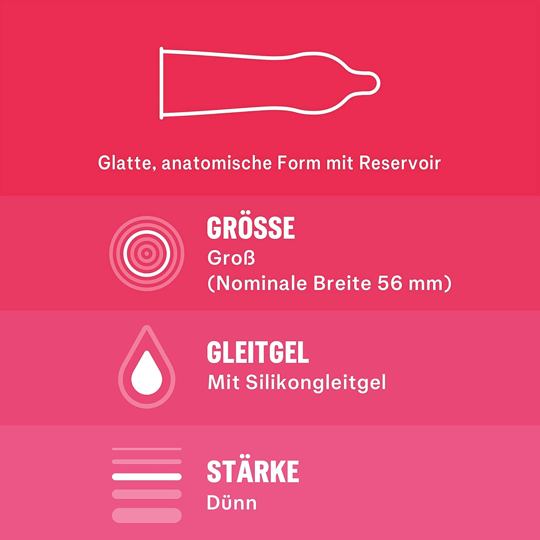 Produktinformationen Hauchzarte Kondome für intensive Momente zu zweit Material: Naturkautschuklatex Nominale Breite: 56 mm, Länge: 195 mm Transparent und befeuchtet Mit idealer Passform und Reservoir Diskreter Versand (bei Versand durch Amazon)