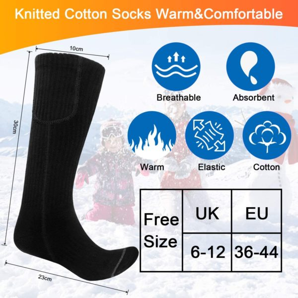 ❄【3 HEIZSTUFEN】Diese beheizten Socken sind mit 3 Heizstufen ausgestattet, darunter hohe Hitze (55-60℃, 6-6,5 Stunden), mittlere Hitze (45-50℃, 8,5-9 Stunden) und niedrige Hitze (35-40℃, 11-11,5 Stunden) machen diese elektrisch beheizten Socken ideal, um Ihre Füße im Winter warm zu halten.