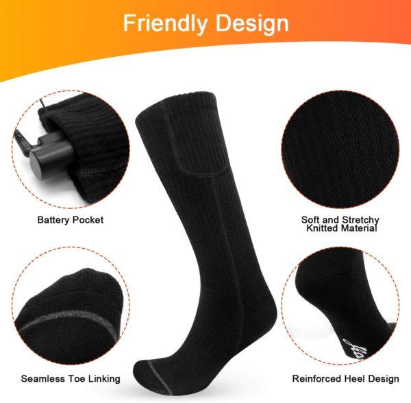 ❄【Wiederaufladbare Batterien Beheizte Socken】Die elektrischen Socken enthalten ein Paar wiederaufladbare 3,7-V-2200-mAH-Lithium-Polymer-Batterien. Heizen Bis zu 6-11 Stunden und voll aufgeladen ca. 3 Stunden. Den ganzen Tag warm halten!