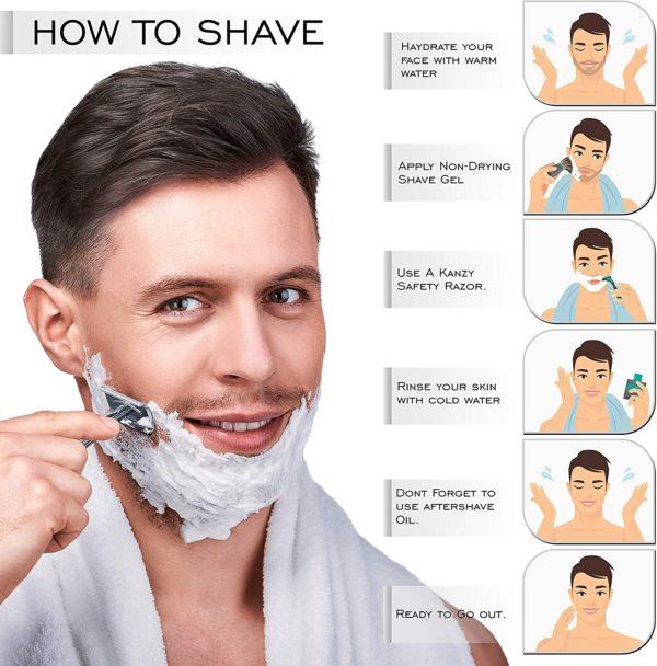 KANZY Double Edge Rasierapparat für Männer und Frauen. Anti rutschiger Griff:  Langer Griff 4