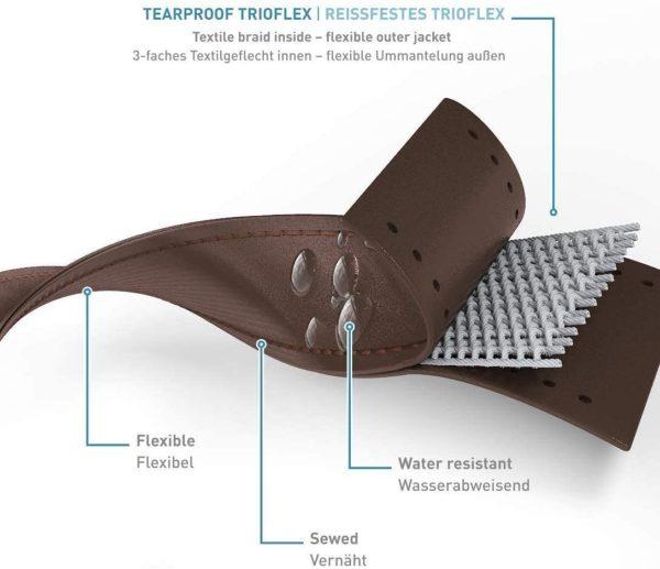 Die robuste Zusammensetzung aus drei Trioflex-Materialschichten sorgt sowohl für Stabilität als auch Flexibilität und ist äußerst reißfest.