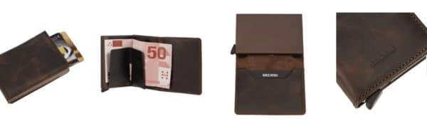 Die Slimwallet überzeugt mit ihrem schlanken Design und erstaunlich viel Platz. Hier finden bis zu 6 Karten (4 Karten mit oder 6 Karten ohne Prägung) sowie Banknoten und Belege Platz. Das patentierte Ausfahr-System ermöglicht einen einfachen Kartenzugriff per Klick. Dank des Aluminium sind die Karten im Cardprotector vor unbefugtem Auslesen und zugleich vor biegen und brechen geschützt.