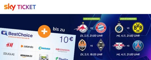 Sky Ticket 10 Eur Amazon Gutschein bei Abschluss 2 Jahre Supersport