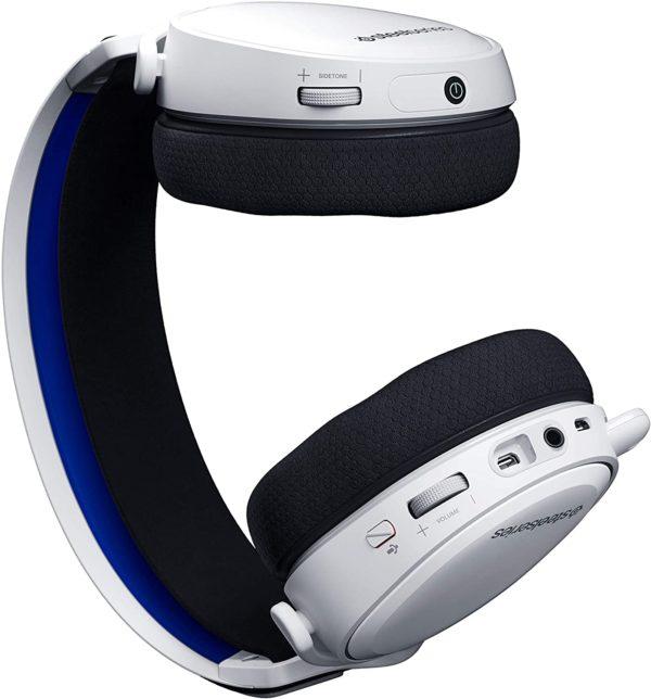 igenschaften:  Verlustfreies drahtloses 2,4-GHz-Audio für Spiele mit extrem geringer Latenz Discord-zertifiziertes ClearCast-Zweiwegemikrofon Preisgekrönter Sound 24 Stunden Akkulaufzeit Kompakter USB-C-Dongle Signature Arctis Sound Spezifikationen:  Neodym-Treiber: 40 mm Frequenzgang des Kopfhörers: 20–20000 Hz Kopfhörerempfindlichkeit: 98 dBSPL Kopfhörerimpedanz: 32 Ohm Gesamte harmonische Verzerrung des Kopfhörers: <3% Lautstärkeregler für Kopfhörer: Am Ohrmuschel Mikrofonfrequenzgang: 100–6500 Hz Mikrofonmuster: bidirektional Mikrofonempfindlichkeit: -38 dBV / Pa Mikrofonimpedanz: 2200 Ohm Mikrofonplatzierung: Einziehbar Reichweite: 40 m, 12 m Akkulaufzeit: 24 Stunden