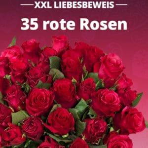 Strauß mit 35 roten Rosen
