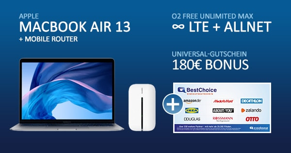 o2 free unlimited max apple macbookair 13 bonus deal