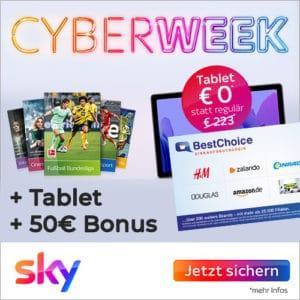 Sky Q Cyber Week: Samsung Galaxy Tab A7 gratis + 50€ Bonus (nur 12 Monate MVLZ + 0€ Aktivierungsgebühr)