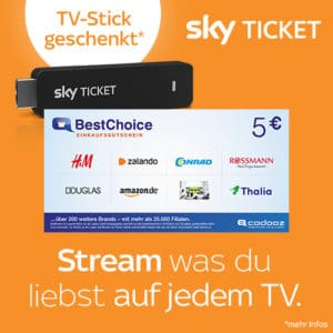 Sky Ticket Cyber Week 🎉 Stick gratis (Wert 30€) bei allen Tickets ab 9,99€ + 5€ Bonus