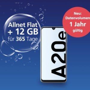 Samsung Galaxy A20e // Xiaomi Redmi 9A mit o2 12GB LTE Jahres-Allnet (keine monatlichen Gebühren)