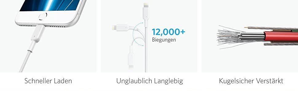 PowerLine II Lightning auf USB Kabel  Dein Kabel für ein Leben lang  Stärker als Stark  Die erste Generation PowerLine Kabel ist fünf Mal langlebiger als andere Kabel. PowerLine II bringt es mit über 12000 Biegungen und Drehungen auf ein neues Level und ist zwölf Mal langlebiger als ähnliche Standard-Kabel.  Geschwindigkeit & Sicherheit  MFi-Prüfung bedeutet 100 % Seelenfrieden. PowerLine II ist komplett von Apple zugelassen. Entworfen, um makellos mit deinem iPhone, iPad, iPod oder jedem Gerät mit Lightning-Anschluss zu arbeiten.  Hält ein Leben lang  Wir stehen voll hinter PowerLine II Kabel, deshalb bieten wir unkomplizierten Austausch für alle qualitätsbezogenen Probleme, ein Leben lang. Powerline II ist das erste und letzte Kabel, das du jemals brauchen wirst.  Kompatibel mit  iPhone SE/ iPhone 7 / 7 Plus / 6s / 6s Plus / 6 / 6 Plus / 5s / 5c / 5, iPad Pro / Air / Air 2, iPad mini / mini 2 / mini 3 / mini 4, iPad (4. Generation), iPod nano (7. Generation) und iPod touch (5. Generation)