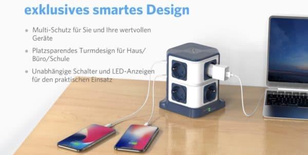 BESTEK 8 Fach Steckdosenleiste Mehrfachsteckdose Steckerleiste Steckdosenverteiler mit 6 USB