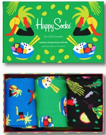 Healthy Lifestyle Socks Gift Box 3-Pack bei Happy Socks