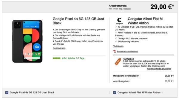 Telekom-Netz Congstar mit 8GB LTE + Google Pixel 4a 5G