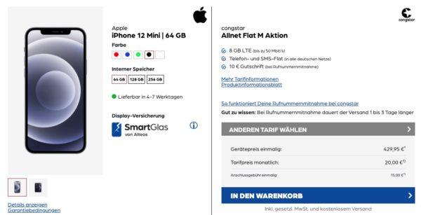 Telekom-Netz Congstar mit 8GB LTE Apple iPhone 12 mini