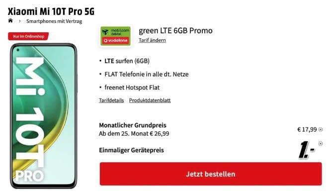 Xiaomi Mi 10T Pro 5G nur 1€ + Allnet mit 6GB LTE (Vodafone)
