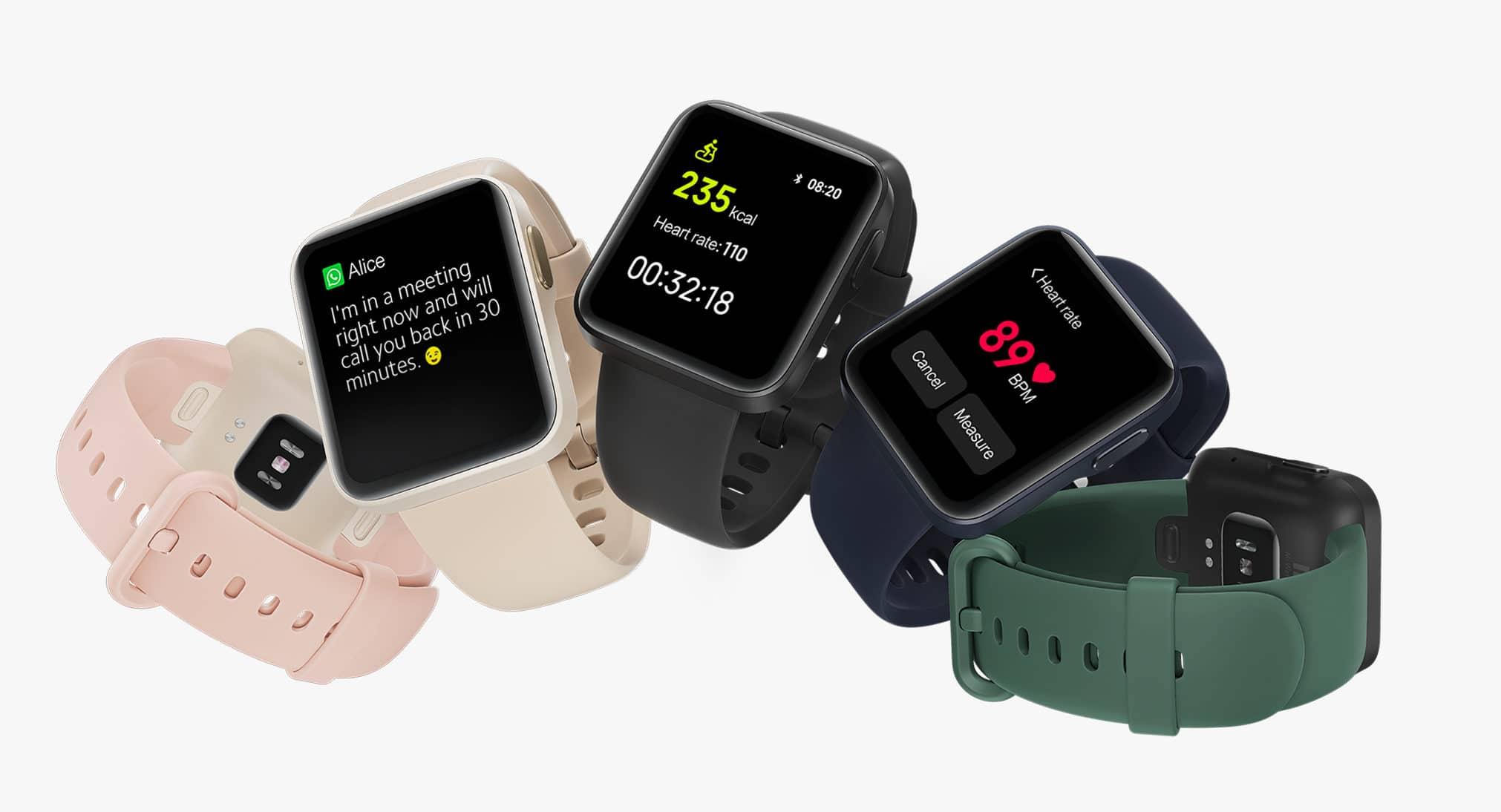 Xiaomi bleibt bei der Mi Watch Lite grundsätzlich bei dem rechteckigen Design der aller ersten Mi Watch, die nur in China veröffentlicht wurde. Auf den zweiten Blick merkt man dann auch, dass sie genauso aussieht wie die Redmi Watch. Die wurde ebenfalls nur in China vorgestellt. Das Zentrum der Aufmerksamkeit ist hier sicherlich das 1,4″ TFT Farb-Touchscreendisplay, welches eine Auflösung von 320 x 320 Pixeln bietet. Summa Summarum kommt man so auf eine Pixeldichte von 323 ppi, ein starker Wert für eine Uhr dieser Preisklasse.