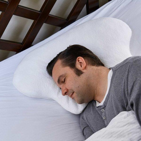Hochwertiger Kissen-Bezug für Seitenschläfer- und CPAP-Kissen LINA in Hotel-Qualität, 100% Made in Germany. Farbe weiß.