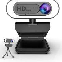 1080P Webcam mit MikrofonRinglichtlesvtu HD Web Kamera mit Abdeckung und Stativ fuer PCMACLaptopDesktop USB Web Cam Streaming fuer YouTube...