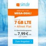 [Letzte Chance] 😲💥Flexible o2 7GB LTE Allnet Flat für 7,99€