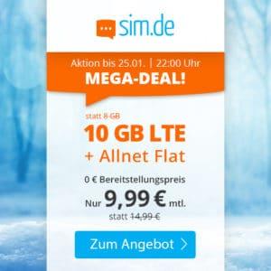 [Nus bis 22 Uhr] 😲💥Flexible o2 10GB LTE Allnet Flat für 9,99€