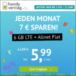 🎉 o2 6GB LTE + Allnet-Flat für 5,99€ (mtl. kündbar!)