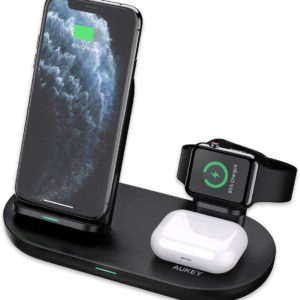 AUKEY 3 in 1 kabelloser Ladegeraet fuer iPhone 12 iWatch AirPods Pro 4 in 1 Wireless Charger Schnell Ladestation Qi Zertifiziert fuer iPhone...