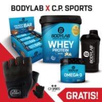 Bodylab Bundle mit Proteinpulver, Riegeln, Omega 3, Shaker und Handschuhen