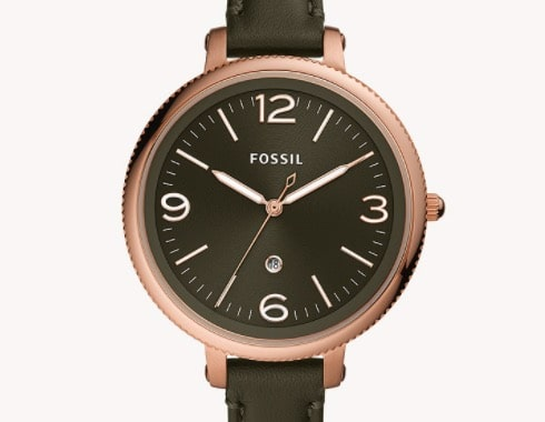 Fossil Uhr Monroe 3-Zeiger-Werk Datum Leder olivgrün