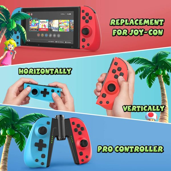 Gamory Controller fuer Nintendo Switch Joy Con2er Set Bluetooth Kabelloser Wireless Gamepad Turbo Dual Vibration Programmierbare Steuerungen Joypad einsatz