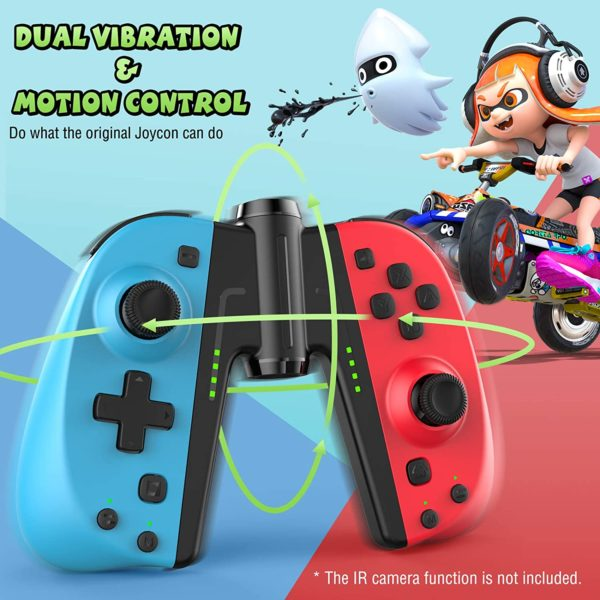 Gamory Controller fuer Nintendo Switch Joy Con2er Set Bluetooth Kabelloser Wireless Gamepad Turbo Dual Vibration Programmierbare Steuerungen Joypad funktion