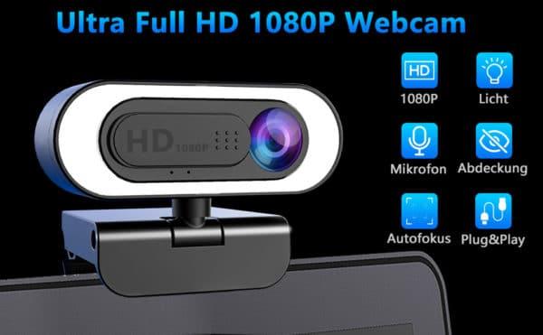 ➤Full HD 1080P Web Cam: Kreative Design-Webcam mit Ringlicht. Sie können die integrierte Beleuchtung einschalten, indem Sie oben die Taste berühren. Das Bild wird automatisch optimiert, damit die Videos professioneller aussieht. Es verfügt über 3 Helligkeitsstufen und hochempfindliche Steuertasten. Man kann die Helligkeit mit einem Tastendruck einstellen. Die HD Facecam mit Full HD 5 Schicht Beschichtungsobjektiv bietet eine hohe Auflösung und nimmt Klare Bilder und Videos mit 1080p / 30fps auf
