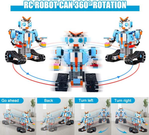 STEM Roboter Spielzeug Bausatz 351 tlg Bausatz fuer Ferngesteuerte Bildungsroboter fuer Kinder ab 8 Jahren 360