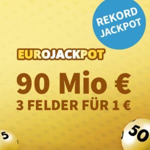 90 Mio. im EuroJackpot 💰🍀 Gratis-Tipp für Neu- & 5€ Rabatt für Bestandskunden
