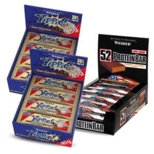 24x Weider Yippie Bar Triple Chocolate und 24x Weider 52% Protein Bar Peanut-Caramel
